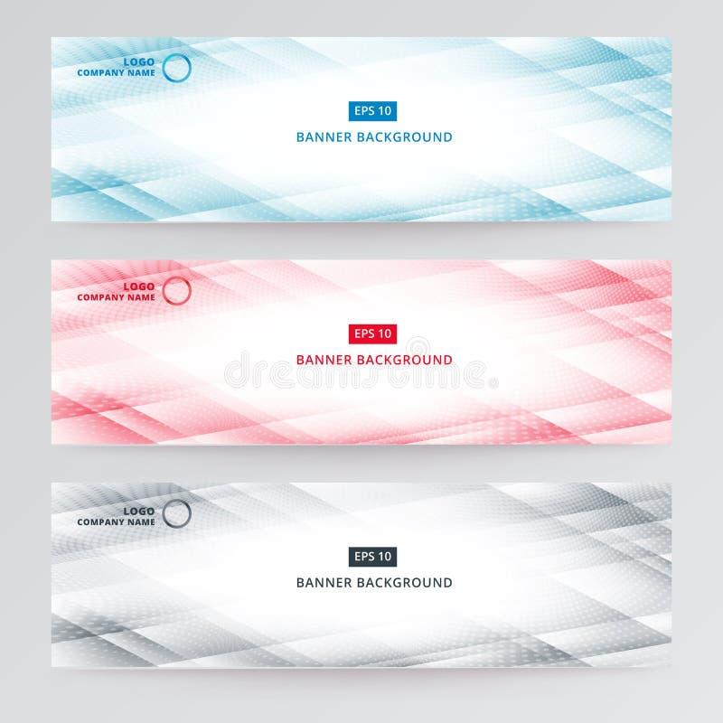 Techn geométrico azul moderno das listras do sumário do molde da Web da bandeira ilustração do vetor