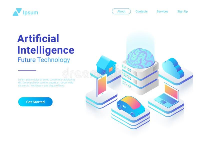 Techn plat isométrique de cerveau d'intelligence artificielle illustration de vecteur