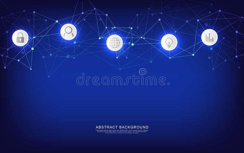 Technical abstract background with connecting dots and lines. Digital technology and communication concept with flat stock illustration