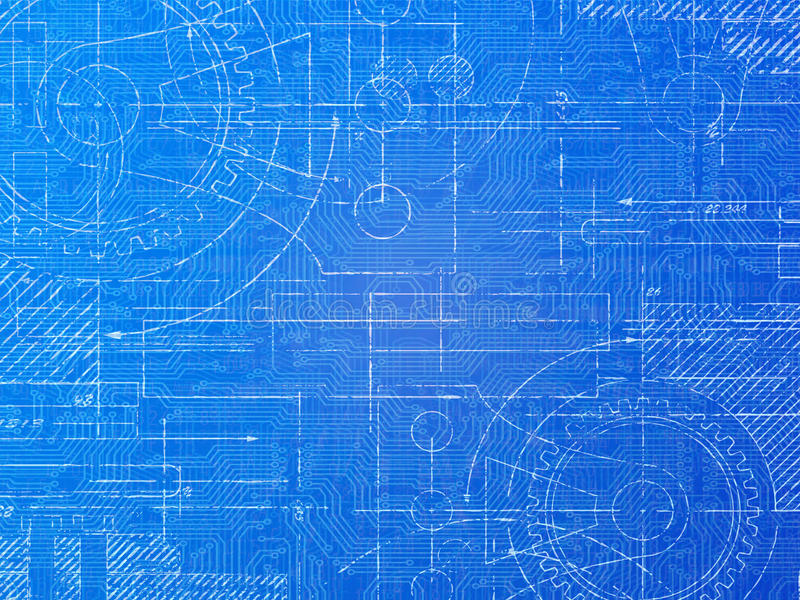 Technical Blueprint. Electronics and mechanical background illustration royalty free illustration