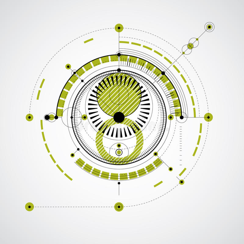 Technical blueprint, green vector digital background with geometric design elements, circles. Illustration of engineering stock illustration