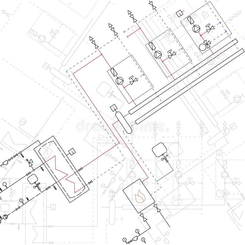 Technical Blueprint Of Steamshop Vector Illustration. Architecture ...