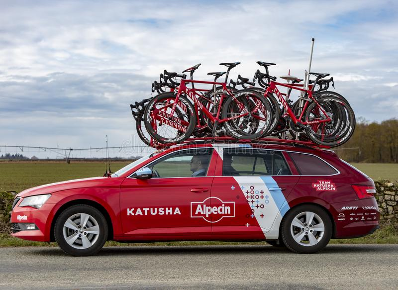 Technical Car of Team Katusha Alpecin - Paris-Nice 2018. Fains-la-Folie, France - March 5, 2018: The technical car of Team Katusha Alpecin driving on a country royalty free stock images