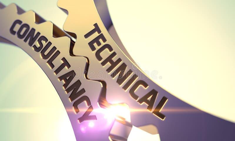 Technical Consultancy Concept. Golden Gears. 3D. stock photos