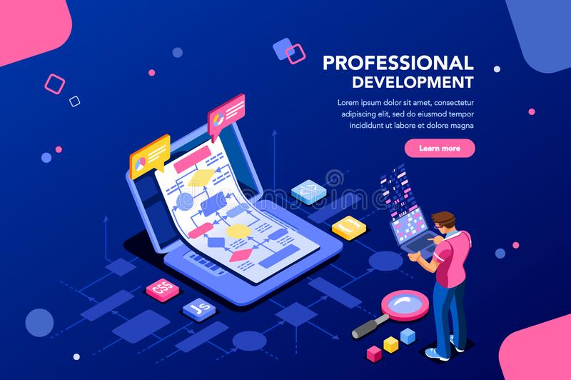 Technical Development Banner for Website. Programmer person and interactive technical software. Professional code for company concept with characters and text royalty free illustration