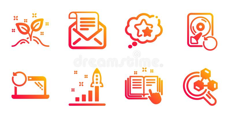 Technical documentation, Development plan and Startup concept icons set. Vector. Technical documentation, Development plan and Startup concept line icons set royalty free illustration