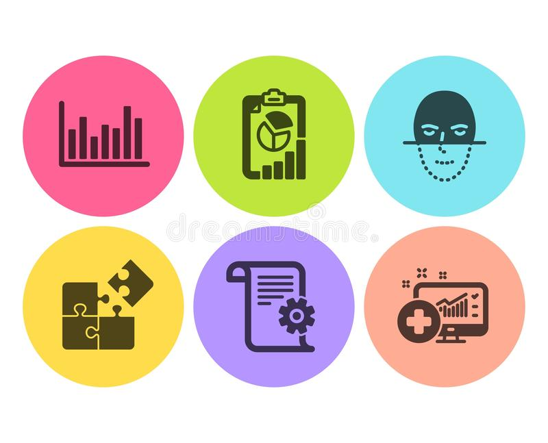 Technical documentation, Report and Bar diagram icons set. Vector. Technical documentation, Report and Bar diagram icons simple set. Face recognition, Puzzle and vector illustration