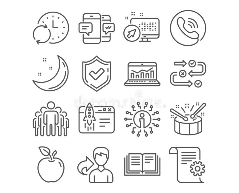 Technical documentation, Update time and Group icons. Start business, Smartphone sms and Survey progress signs. Vector royalty free illustration