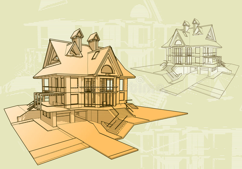 Technical draw of the house stock photo