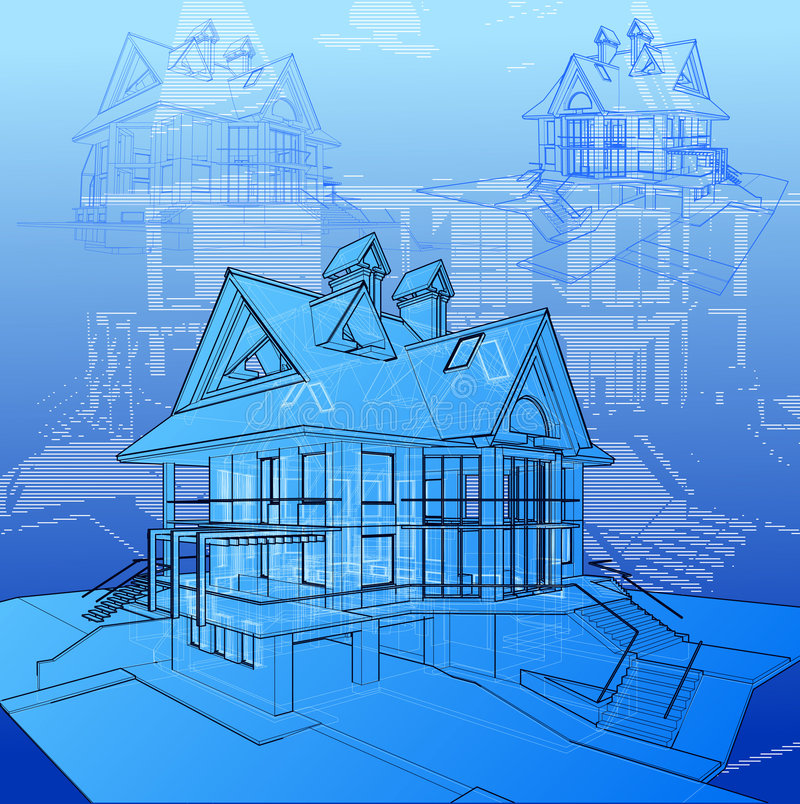 Technical draw of the house royalty free stock photos