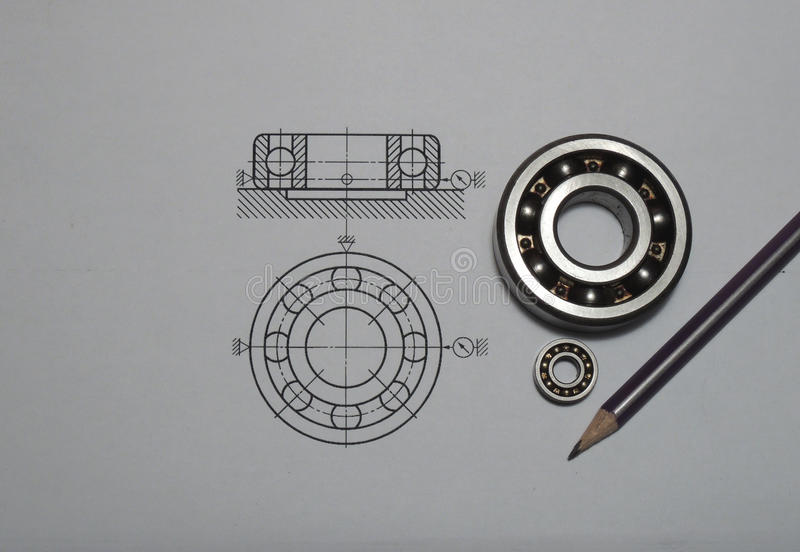 Technical drawing with bearings. Isolated on white background stock images