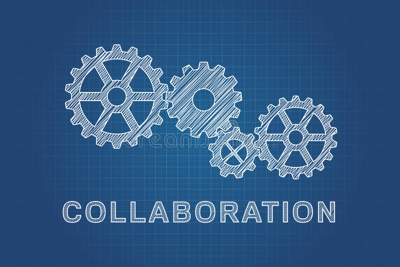 Technical drawing of gears, idea of teamwork vector illustration