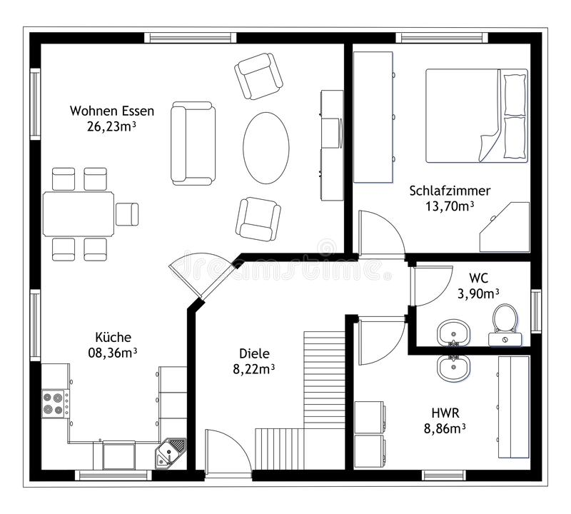 Technical drawing home floor plan stock illustration