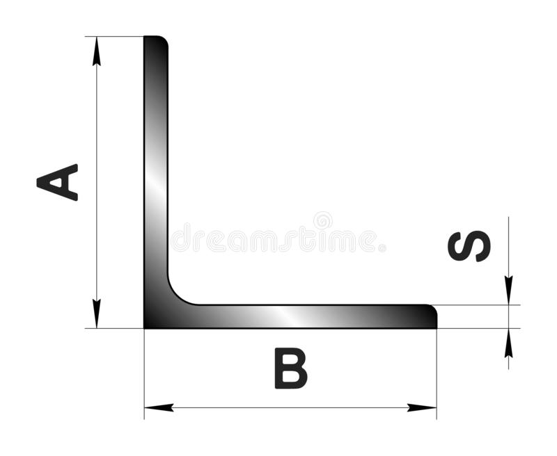 Technical drawing rolled metal. Steel angle profile. Image for web site. Illustration. vector illustration