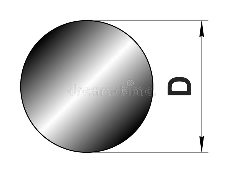 Technical drawing rolled metal. Steel circle profile. Image for web site. Illustration. stock illustration
