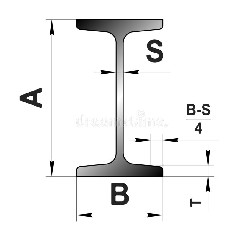 Technical drawing rolled metal. Steel I-profile. Image for web site. Illustration. vector illustration