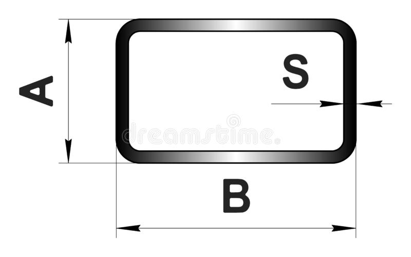 Technical drawing rolled metal. Steel rectangular tube profile. Image for web site. Illustration. stock illustration