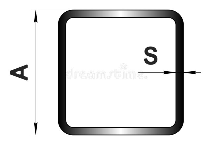 Technical drawing rolled metal. Steel square tube profile. Image for web site. Illustration. stock illustration