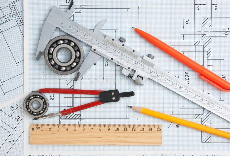 Technical drawing. And tools with bearings stock photo