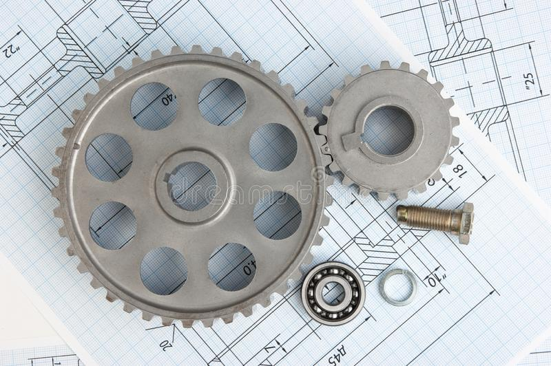 Technical drawing. And tools with bearings royalty free stock image