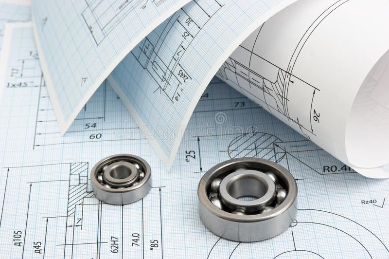 Technical drawing. And tools with bearings royalty free stock images
