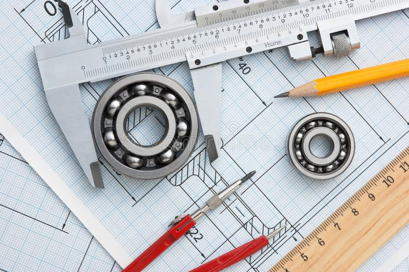 Technical drawing. And tools with bearings stock images