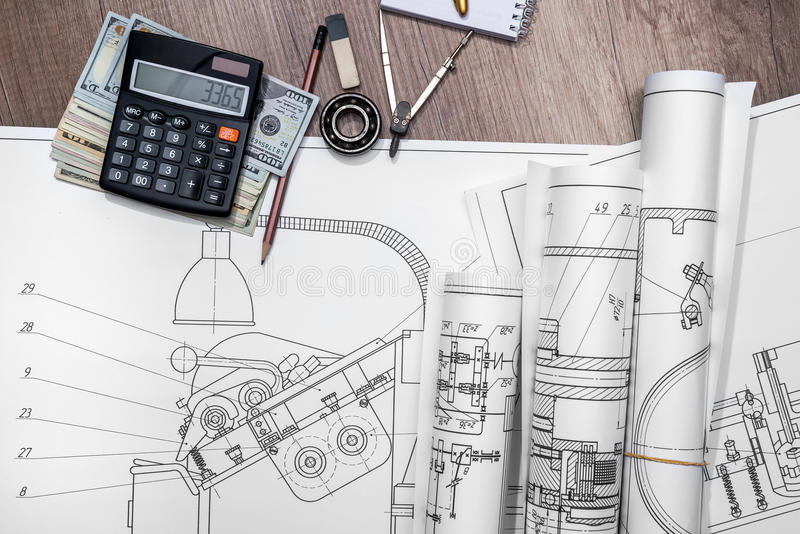 Technical drawing and tools. The drawing machine, pencil, ruler, us dollar and compasses stock images