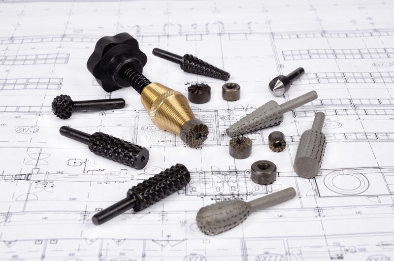 Technical drawings. Tools and mechanisms of technical drawings stock image