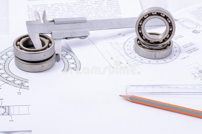Technical drawings with the Ball bearings royalty free stock photos
