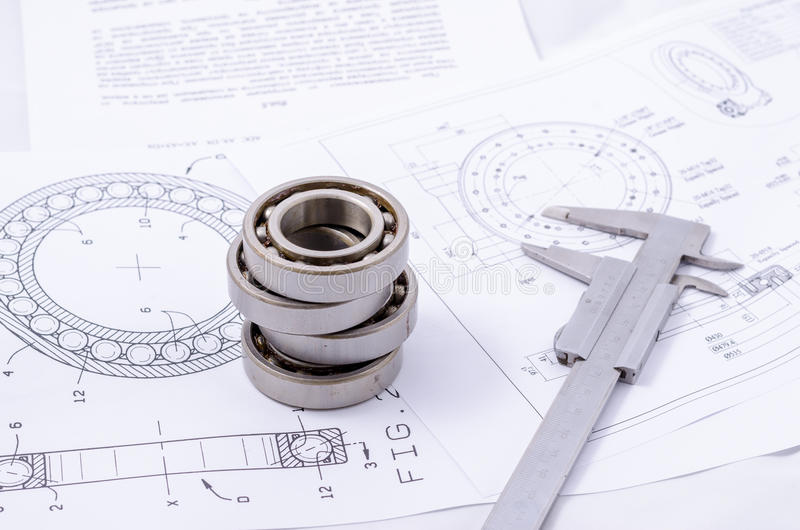 Technical drawings with the Ball bearings.  royalty free stock photo