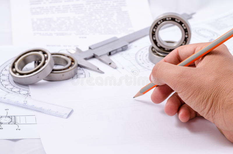 Technical drawings with the Ball bearings.  stock photography
