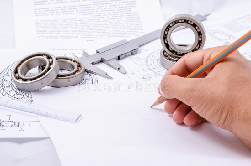 Technical drawings with the Ball bearings.  royalty free stock image