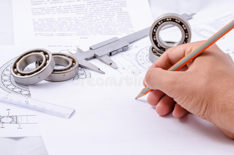 Technical drawings with the Ball bearings.  royalty free stock images