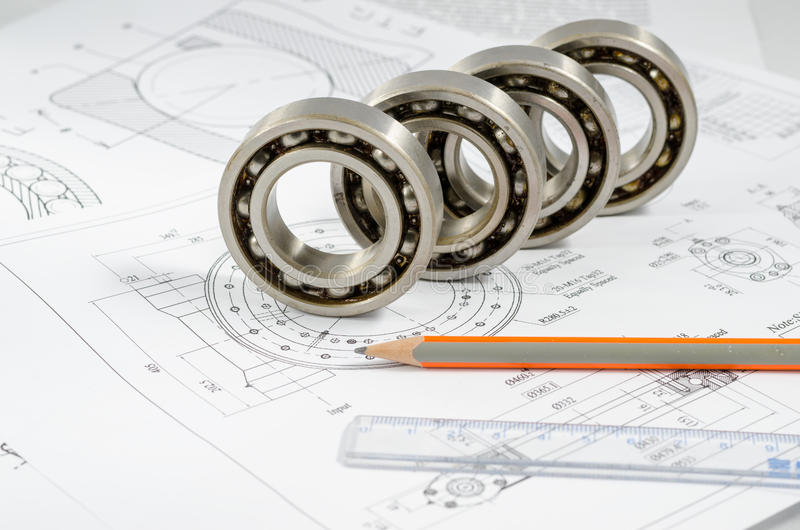 Technical drawings with the Ball bearings.  stock image