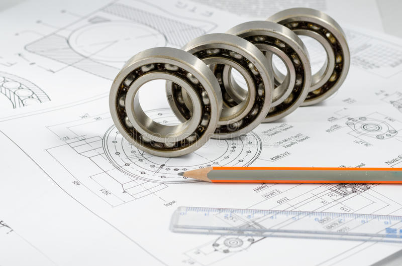 Technical drawings with the Ball bearings.  stock images