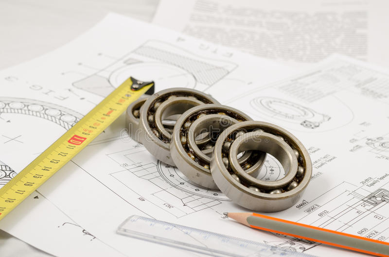 Technical drawings with the Ball bearings.  royalty free stock photos