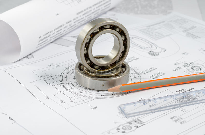 Technical drawings with the Ball bearings.  stock photos