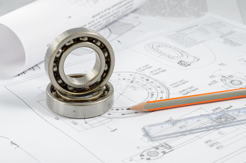 Technical drawings with the Ball bearings.  stock photo