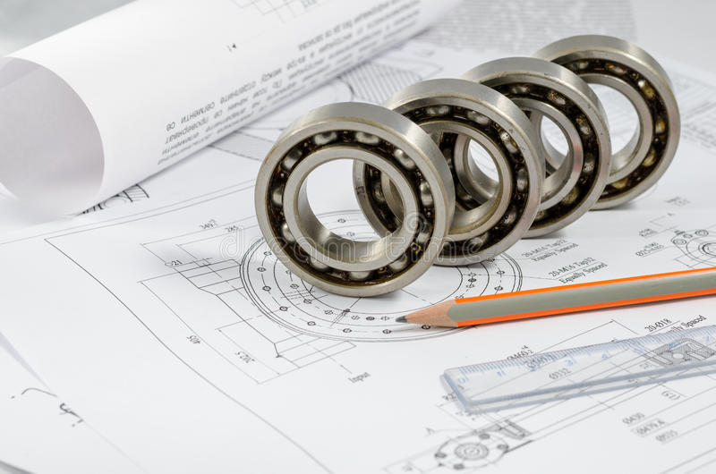 Technical drawings with the Ball bearings.  royalty free stock photography