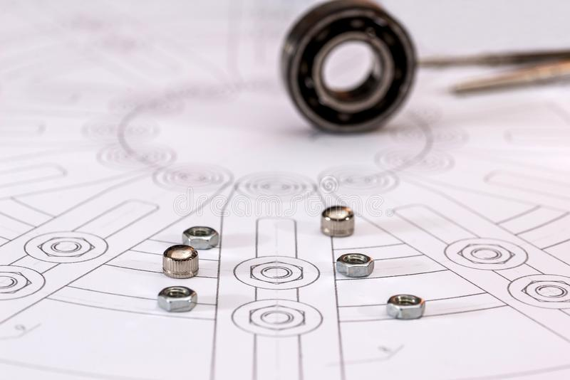 Technical drawings with bearing on paper. Technical drawings with bearing on paper stock photography