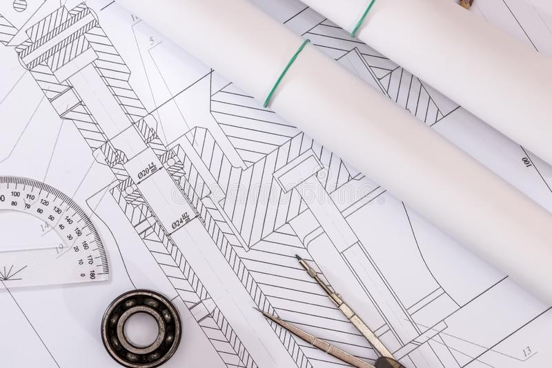 Technical drawings with bearing. On paper stock photography