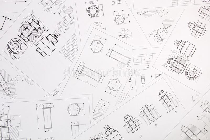 Technical drawings of bolt and nut. Engineering, technology and metalworking stock images