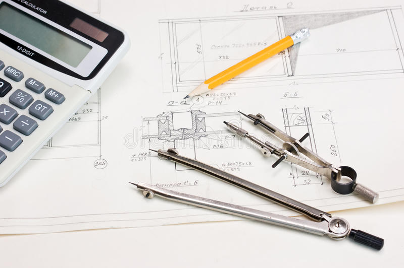 Technical Drawings And  Calculator Stock Images