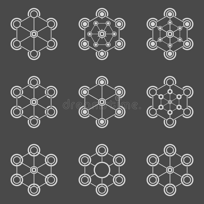 Technical elements. Vector abstract design templates. Minimal geometric badges. Hexagon element vector illustration