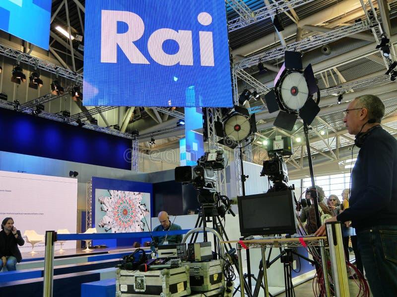 Technical equipment of italian national television broadcaster RAI on set. Turin Italy May 9 2019 stock photo