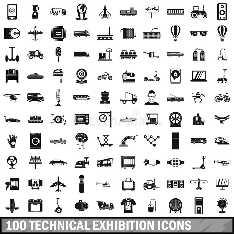 100 technical exhibition icons set, simple style vector illustration