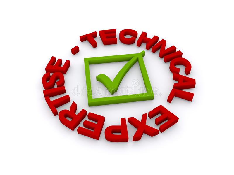 Technical expertise. Illustration of a circular badge with red uppercase text 'technical expertise' inscribed around the circumference with a green square and royalty free illustration