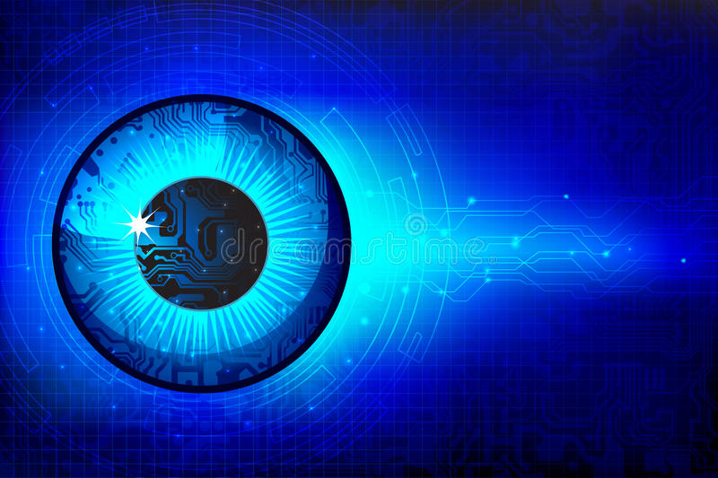 Technical Eye. Illustration of abstract eye in technological background vector illustration