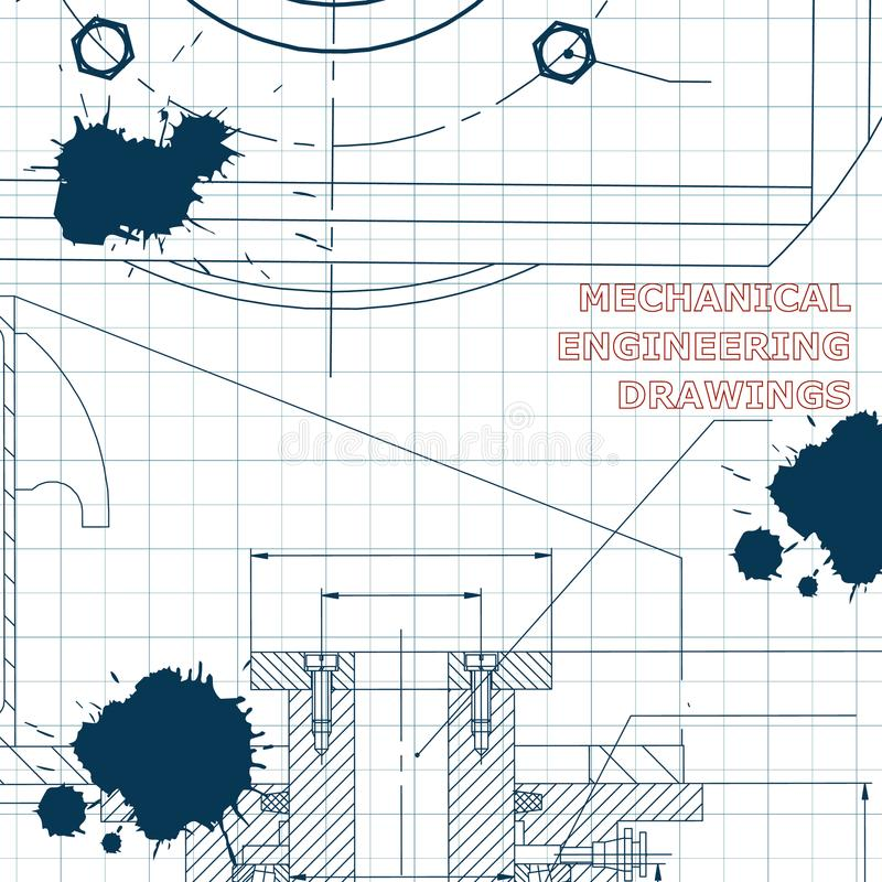 Technical illustration. Draft. Ink. Blots royalty free illustration