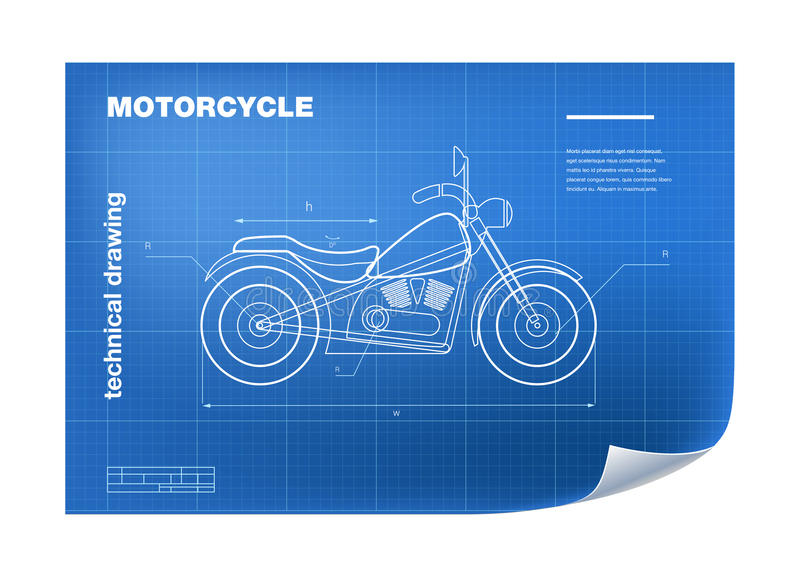 Technical Illustration with motorbike drawing on the blueprint stock illustration